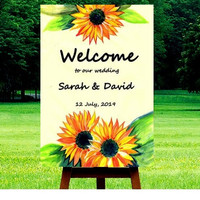 Welcome Wedding Sign, Custom wedding sign, rustic fall wedding, watercolor sunflowers, Printable signage, floral gold silver decor, outdoor