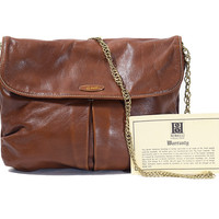 Chestnut Brown Leather Chain Purse  Vintage Borelli Crossbody Bag