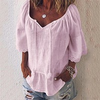 fhotwinter19 Hot sale woven three-quarter sleeves V-neck strap loose lace shirt