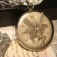 Fairy over Watch Face Steampunk Style Pendant Necklace (1834)