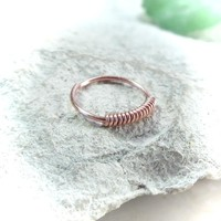 Copper Nose Ring with Copper Wrap