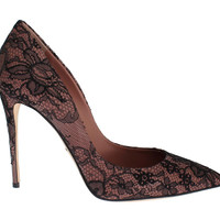 Dolce & Gabbana Pink Leather Black Lace Stiletto Heel Shoes