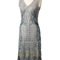 """1920s Reproduction Flapper Dresses-Silver Beaded 20s style """"Marcelle"""" Fringed Dress"""
