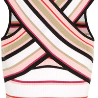 MSGM - Cropped striped cotton-blend top