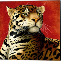 Fire Cat Animal Canvas Wall Art Print by Will Bullas