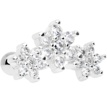 "16 Gauge 5/16"" Clear CZ Flowers Cartilage Tragus Earring"