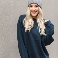 Cozy Crewneck Sweatshirt - Navy