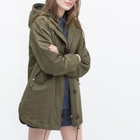 Cotton parka with furry hood
