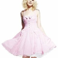HELL BUNNY - PINK GINGHAM PENNY DRESS
