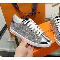 LV Louis Vuitton autumn and winter new wild sequins metal leather women's comfortable casual shoes silver