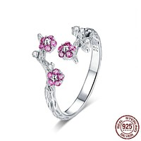 100% 925 Sterling Silver Winter Blooming Plum Flower Open Size Rings for Women Wedding Engagement Jewelry