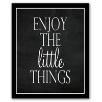 INSTANT DOWNLOAD, Enjoy The Little Things, Chalkboard Art, Living Room Decor, Typography Print, Graduation Gift, Motivational Quote