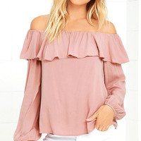 Over the Sea Mauve Off-the-Shoulder Top