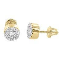 14k Gold Finish Clear Solitaire Cluster Designer Silver Earrings