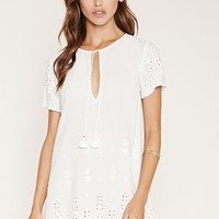 Eyelet Shift Dress