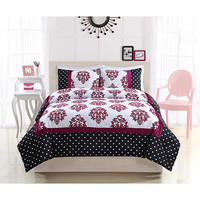 Pem America CS8757PKFU-1500 Franchesca Dot Pink and Black Three-Piece Full Comforter Set - (In No Image Available)