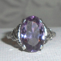 Art Deco Amethyst Ring, Antique 935 Silver Solitaire Ring, Signed 1910s Amethyst Ring, Rare European Amethyst Ring, Authentic Art Deco Ring.