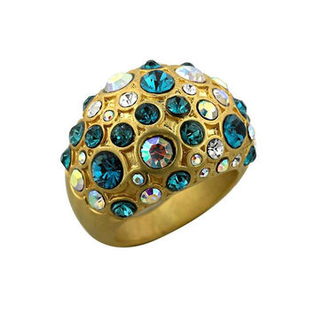 Pave Antique Gold Cocktail Ring, size : 07