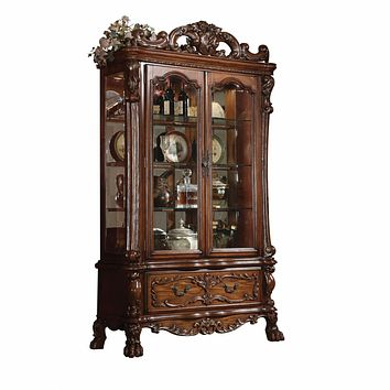 """Glass Cabinet - 20"""" X 51"""" X 89"""" Cherry Oak Wood Poly Resin Glass Curio Cabinet"""