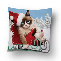 grumpy cats worst christmas ever Pillow Cover