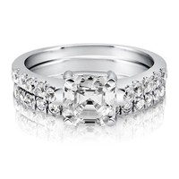 Asscher CZ 925 Sterling Silver 2-Pc Solitaire Bridal Ring Set 1.96 Ct #r639