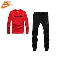 Nike fashion round neck long sleeve suit black and white