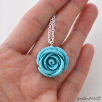 Skyblue Rose necklace Vintage style Jewelry skyblue Garden Rose Charm, turquoise necklace