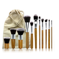 11-pcs Bamboo Stalk Environmental Bags Set Make-up Brush Set [9647074383]