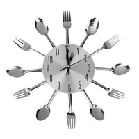 Spoon Fork Wall Clock for Kitchen Dining Room Decoration