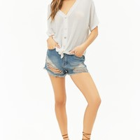 Sheer Waffle-Knit Button Tie-Front High-Low Top