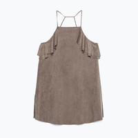 Faux suede top with frill