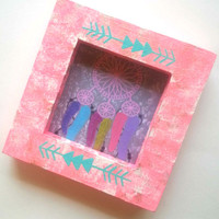 """Pink with blue arrow 3.5"""" x 3.5"""" picture frame for home decor"""