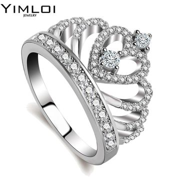 100% 925 Sterling Silver Color My Princess Queen Crown Engagement Ring for Women with Clear CZ Sterling Silver Jewelry RA017