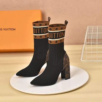 lv louis vuitton trending womens black leather side zip lace up ankle boots shoes high boots 188