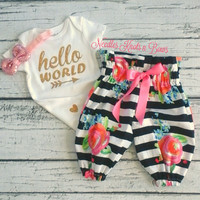 Baby Girls Coming Home Outfit Girl, Hello World Onesuit, Baby Girls Pants Outfit