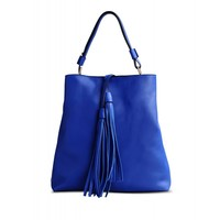 Marni Blue Tasseled Leather Shoulder Bag - Slouchy Fringe Bucket Bag - ShopBAZAAR