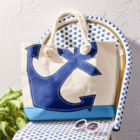Two's Company Anchors Away Nautical Cotton Canvas Beach Tote Bag with Rope Handles