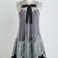 Vintage Inspired, 20s, French Sleeveless Tent Expression of Elegance Dress in Noir by Ryu from ModCloth