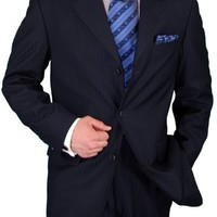 Gino Valentino Men's 2 Piece Suit 3 Button Jacket Flat Front Pants Navy Stripe