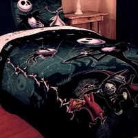 Disney Nightmare Before Christmas Full / Queen Comforter with Jack Skellington Lock Shock and Barrel