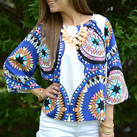 Kaleidoscope Top, Blue