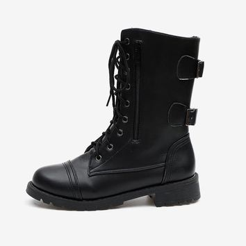 Mid Calf Boots Lace Up Plus Size Buckle Strap Low Heel Shoes