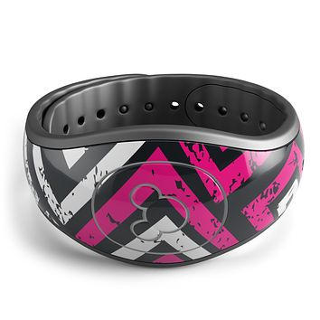 Pink & White Abstract Maze Pattern - Decal Skin Wrap Kit for the Disney Magic Band