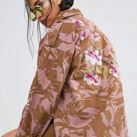 ASOS Jacket in Pink Camo with Dragon and Blossom Embroidery at asos.com