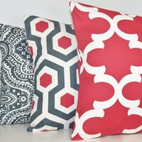 "THREE PILLOW COVER Throw Case 14"" 16"" 18"" 20"" 24 Euro Sham or Lumbar Pillow Premier Prints Fabric Grey Damask Red Magna Lattice Timberwolf"