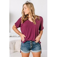 Back To The Basics Oversized Top | Burgundy