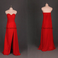 unique red chiffon prom dresses for girls / simple sweetheart evening dresses / floor length a-line dresses for party/ cheap holiday dresses
