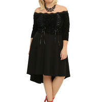 Tripp Black Lace-Up Hi-Low Dress Plus Size