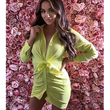New fashion white lapel long sleeve sexy single-breasted hip dress for women