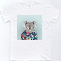 DCCKV2S 2018 New 100% Cotton Funny O Neck T Shirt Koala Selfie T-Shirt Vintage Floral Pattern Indie Retro Animals Top custom Tee shirt